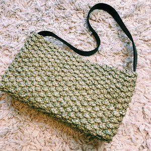 Vintage Cream Wicker Handbag With Dark Brown Strap